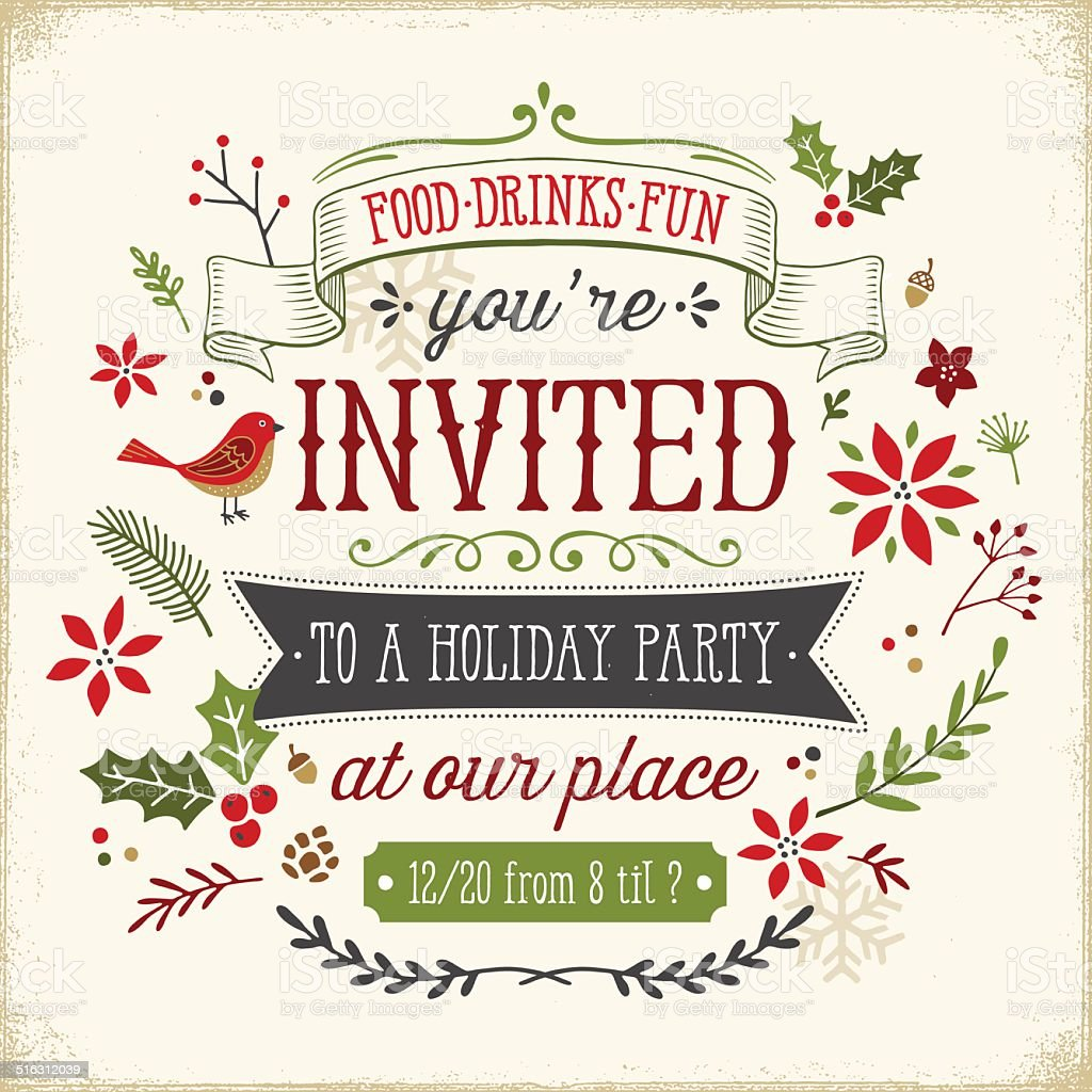 Hand Drawn Holiday Party Invitation vector art illustration