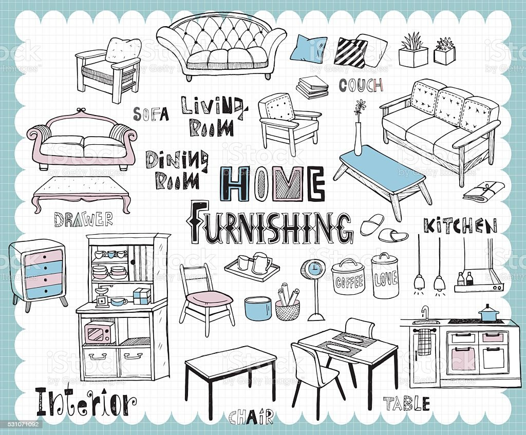 Hand drawn home furnishing set-Dining room and Living room vector art illustration