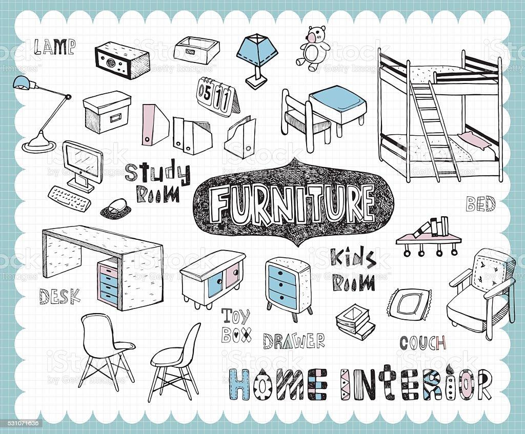 Hand drawn home furnishing set-Study room and Kids room vector art illustration
