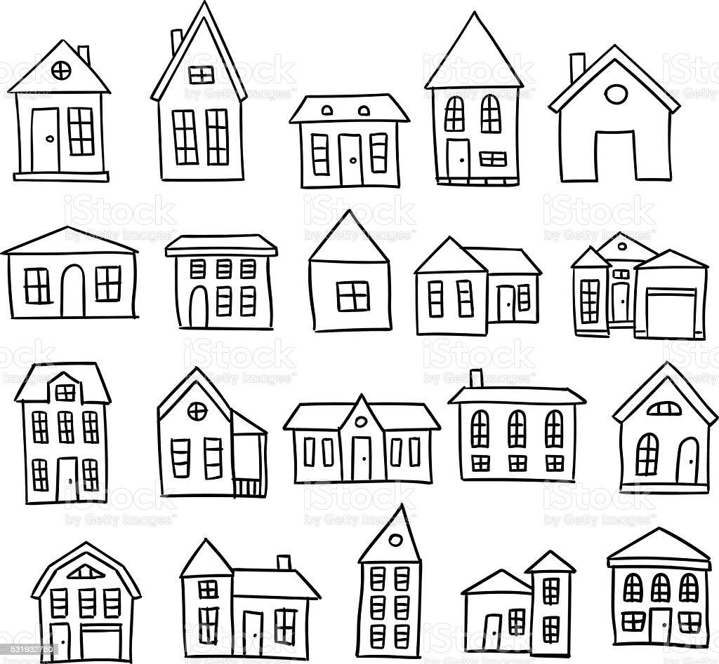 Line Art House Vector : Hand drawn house vector set stock art