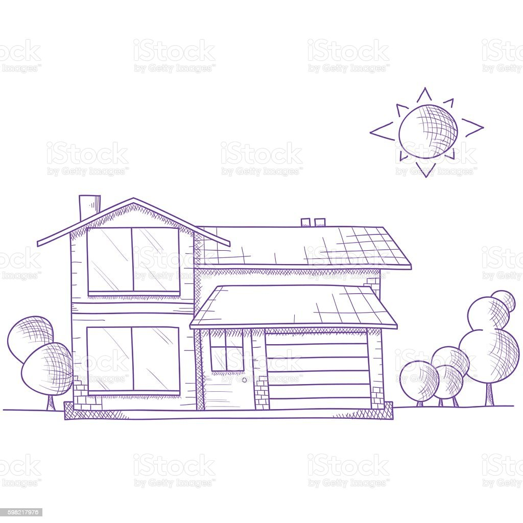 Hand drawn house with trees on ground vector art illustration