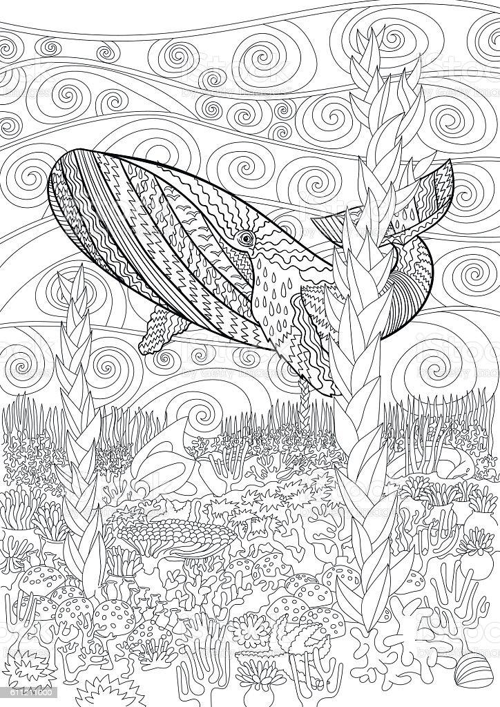 Mano Dibujado Joroba Ballena En Las Olas Illustracion Libre de ...