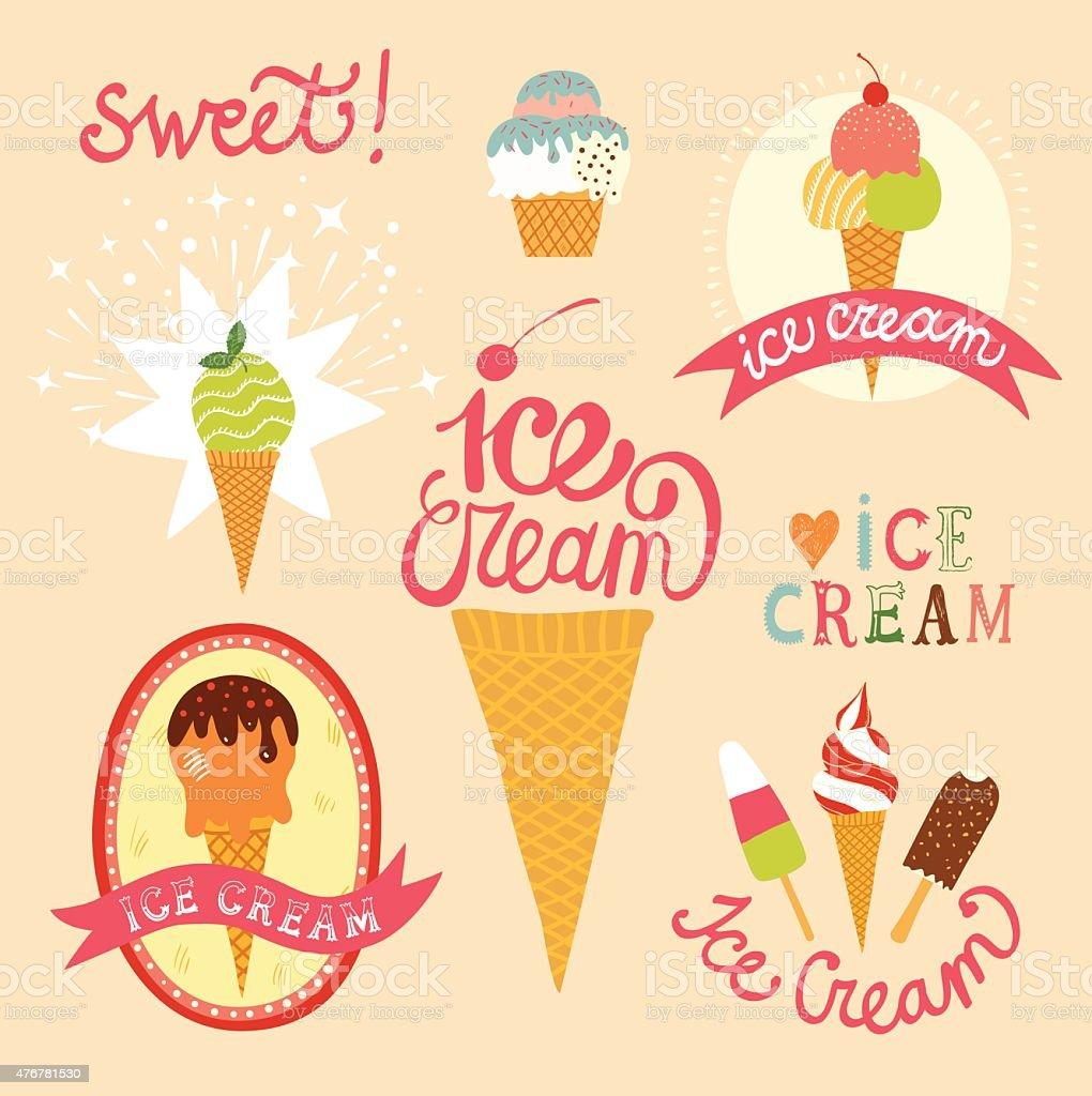 Hand drawn ice cream emblems set vector art illustration
