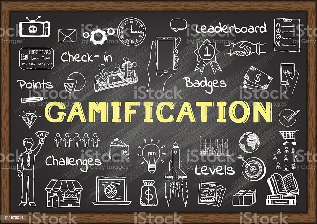 Hand drawn icons about gamification vector art illustration