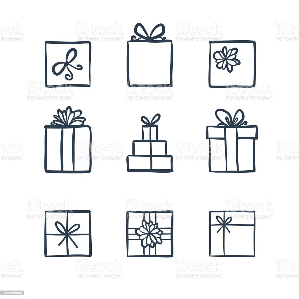 Hand drawn icons gifts vector art illustration