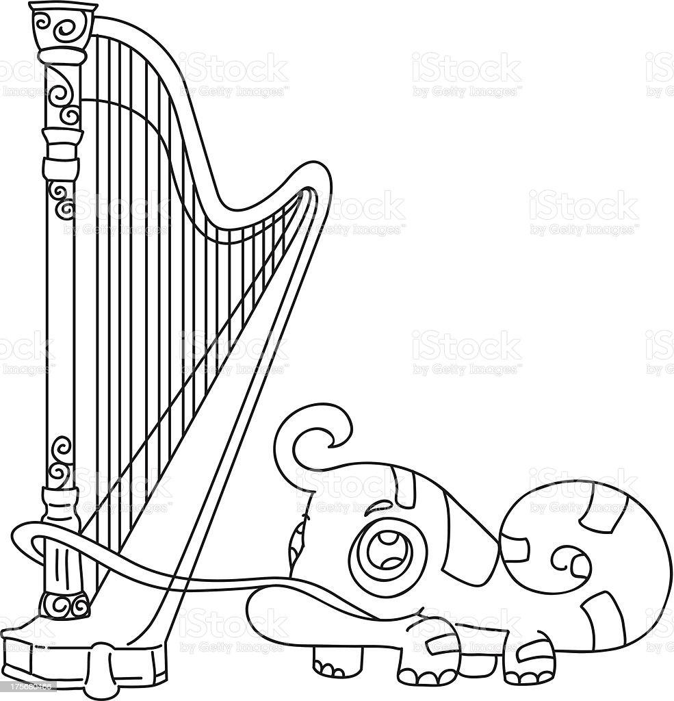 hand drawn iguana playing harp royalty-free stock vector art