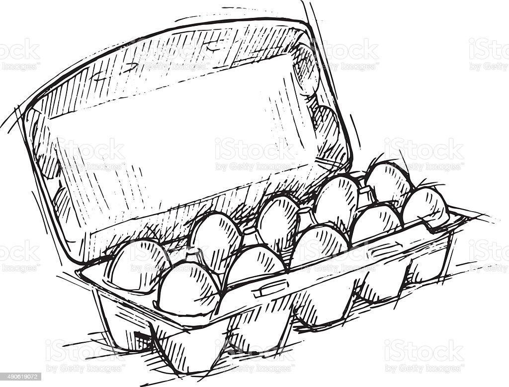 Hand drawn illustration - Box of Eggs on white background. vector art illustration