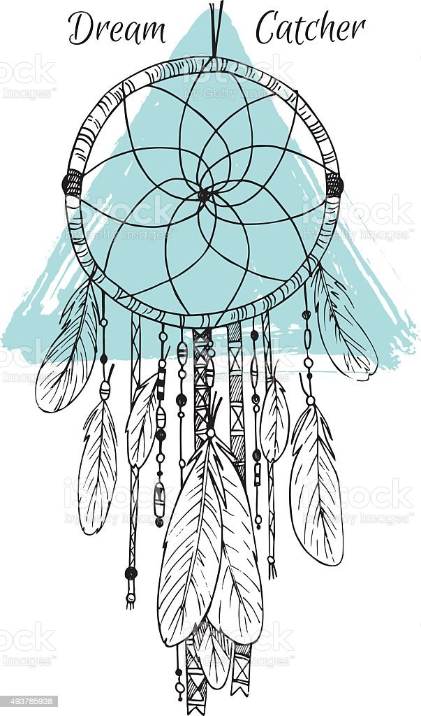 Hand drawn illustration - Dream catcher. Tribal design element. vector art illustration