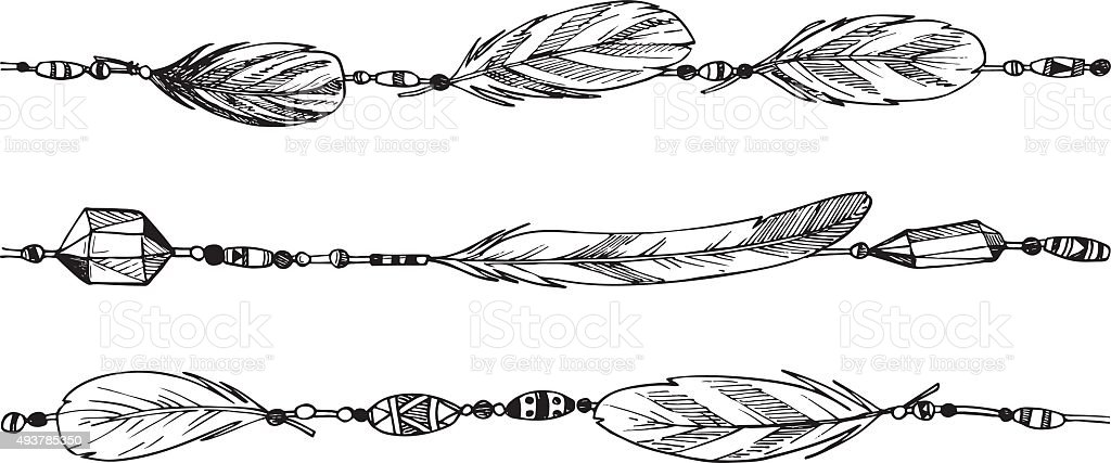 Hand drawn illustration - feathers and beads. Tribal design element vector art illustration