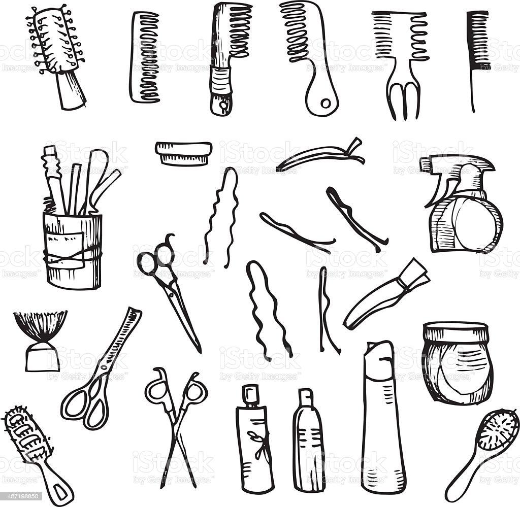 Hand drawn illustration -  Hairdressing tools vector art illustration