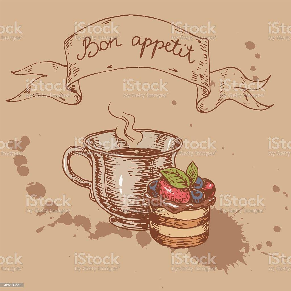 hand drawn illustration of a cake vector art illustration