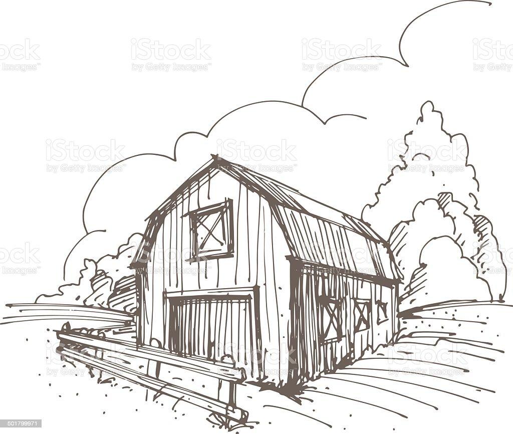 Hand drawn illustration of a farm vector art illustration
