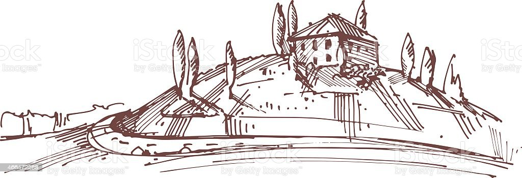 Hand drawn illustration of an Italian house on hill vector art illustration