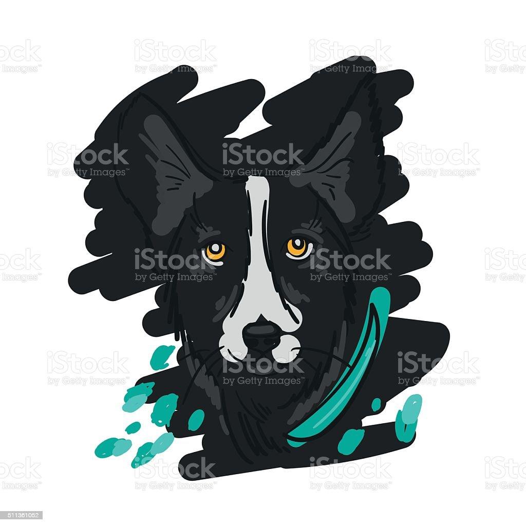 Hand drawn Illustration of black dog in sketch style vector art illustration