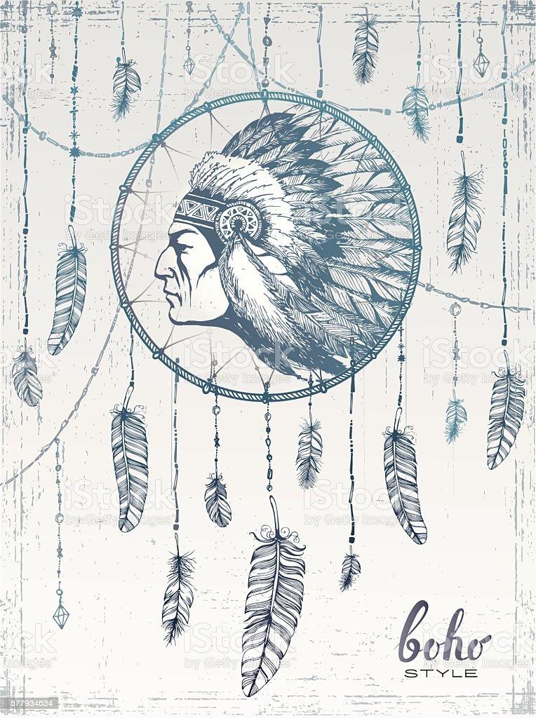 hand drawn illustration of dream catcher , in boho style vector art illustration