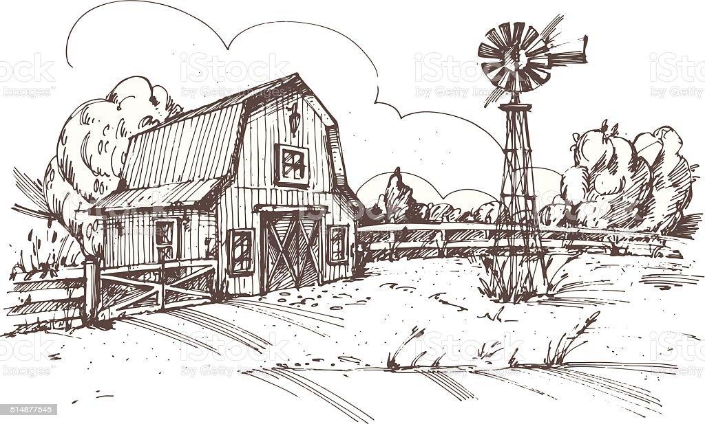 Hand drawn illustration of farmhouse vector art illustration