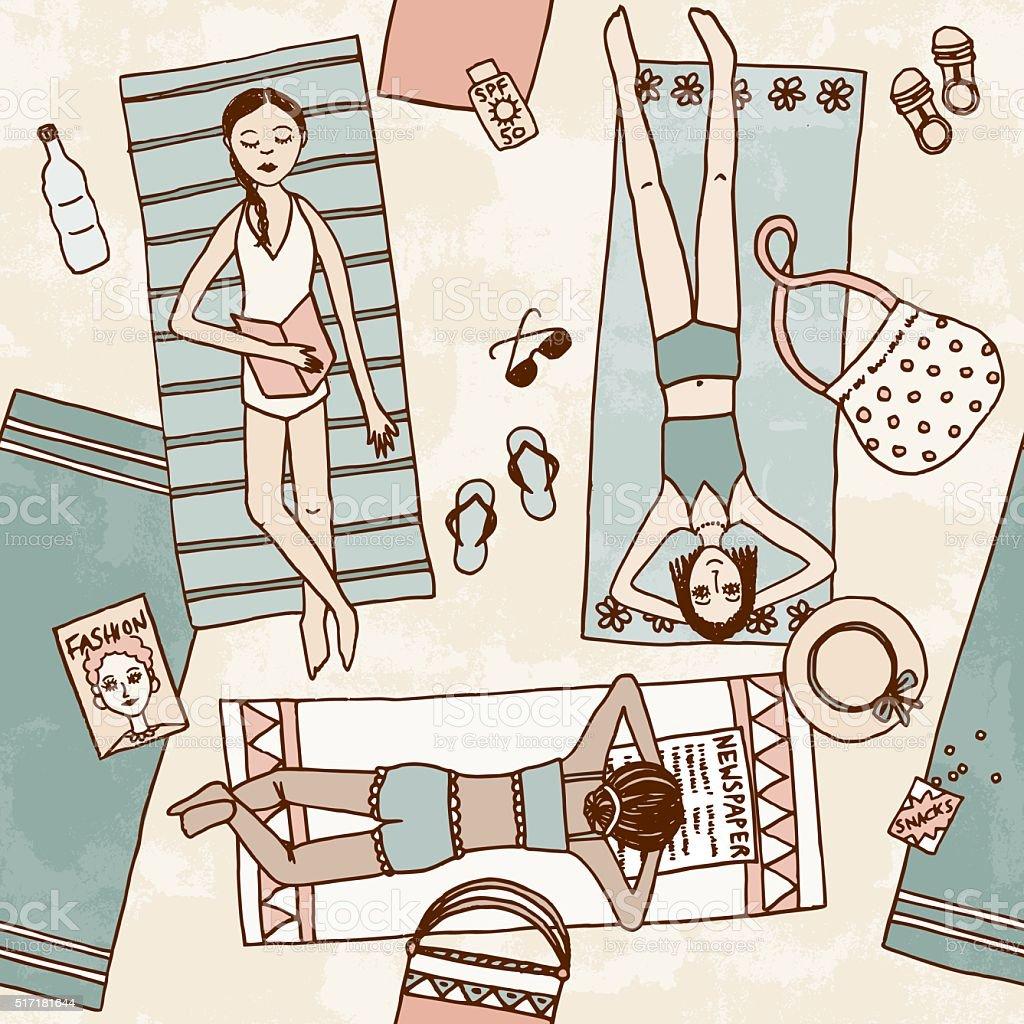 Hand drawn illustration of girls chilling at the beach vector art illustration