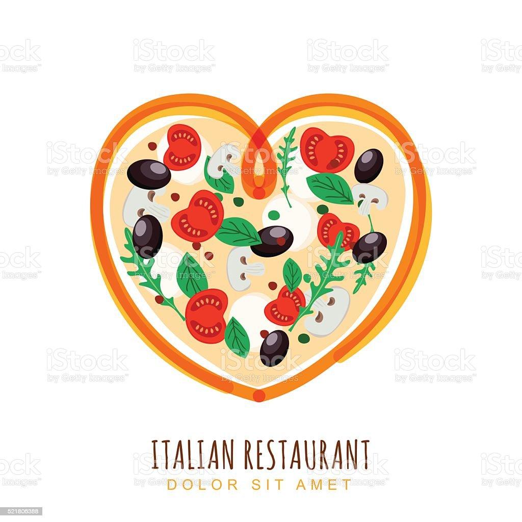 Hand drawn illustration of italian pizza in heart shape. vector art illustration