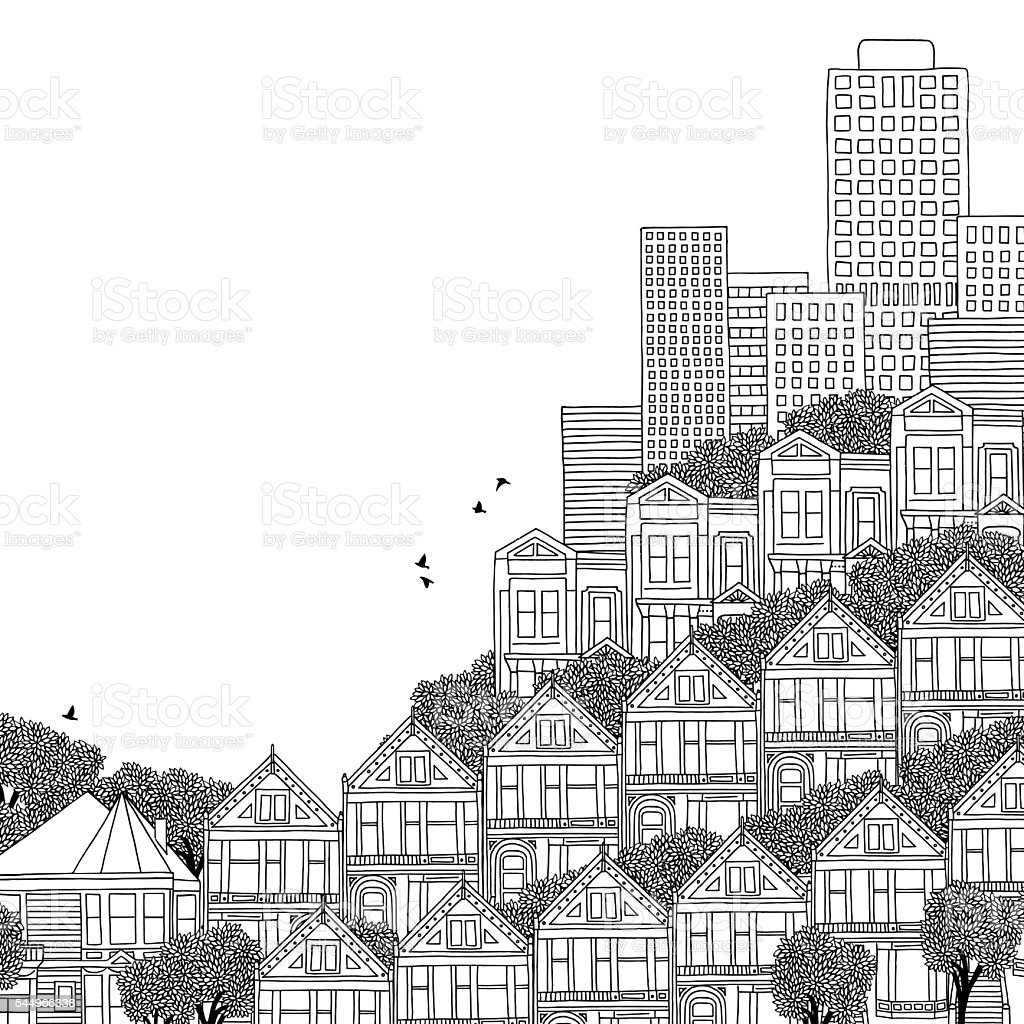 Hand drawn illustration of San Francisco vector art illustration