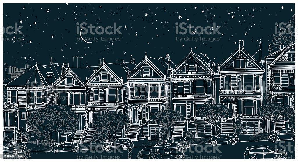 Hand drawn illustration of the city at night vector art illustration