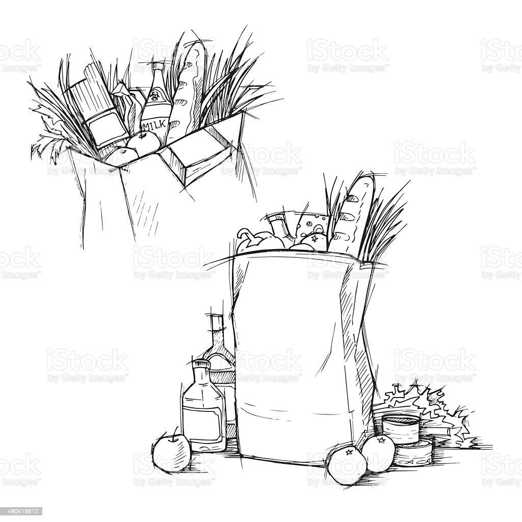 Paper bag sketch - Vector Hand Drawn Illustration Paper Bag With Food Sketch Vector
