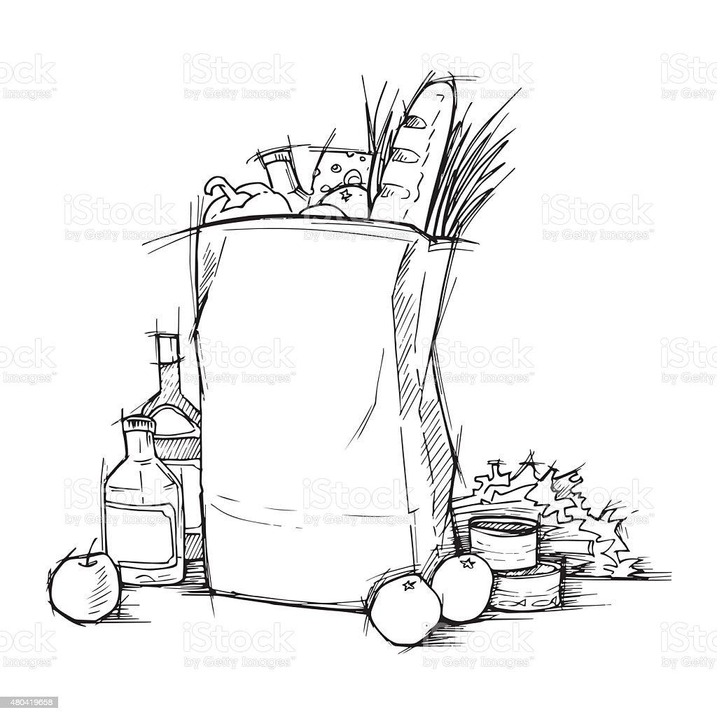 Paper bag sketch - Hand Drawn Illustration Paper Bag With Food Sketch Vector Royalty Free