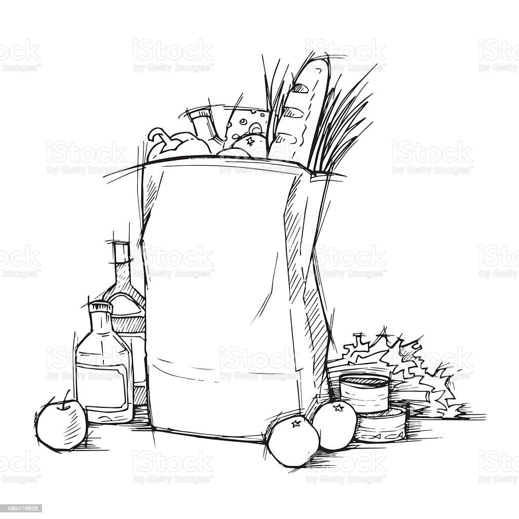 Hand drawn illustration - Paper Bag With Food. Sketch. Vector. vector art illustration