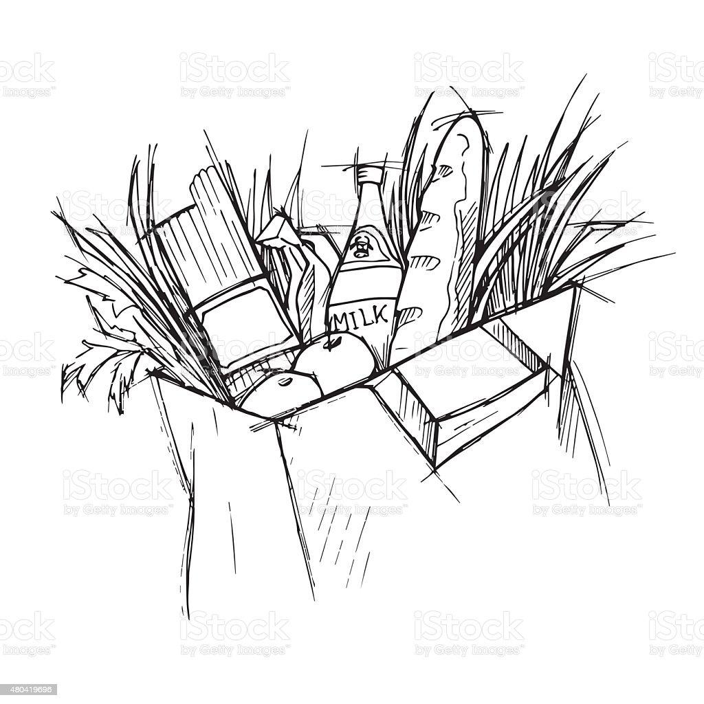 Paper bag sketch - Hand Drawn Illustration Paper Bag With Food Sketch