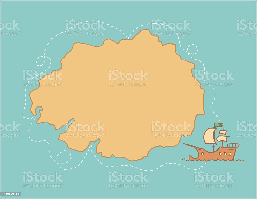 Hand drawn illustration - treasure map. Vector vector art illustration