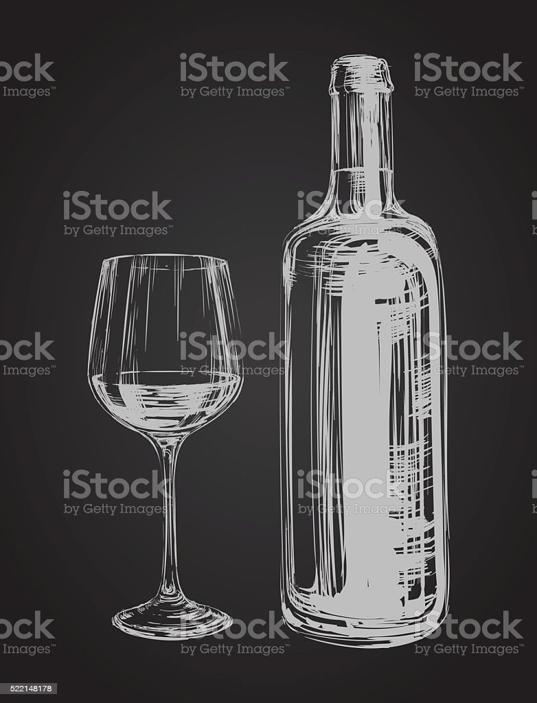 Hand Drawn Illustration Wine Glass and Bottle vector art illustration