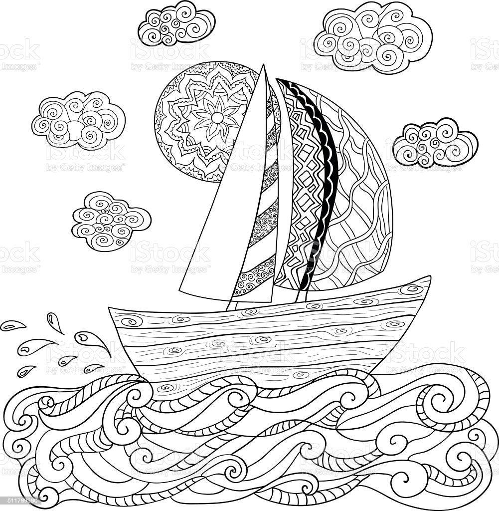 Hand drawn illustration with sailing boat. vector art illustration