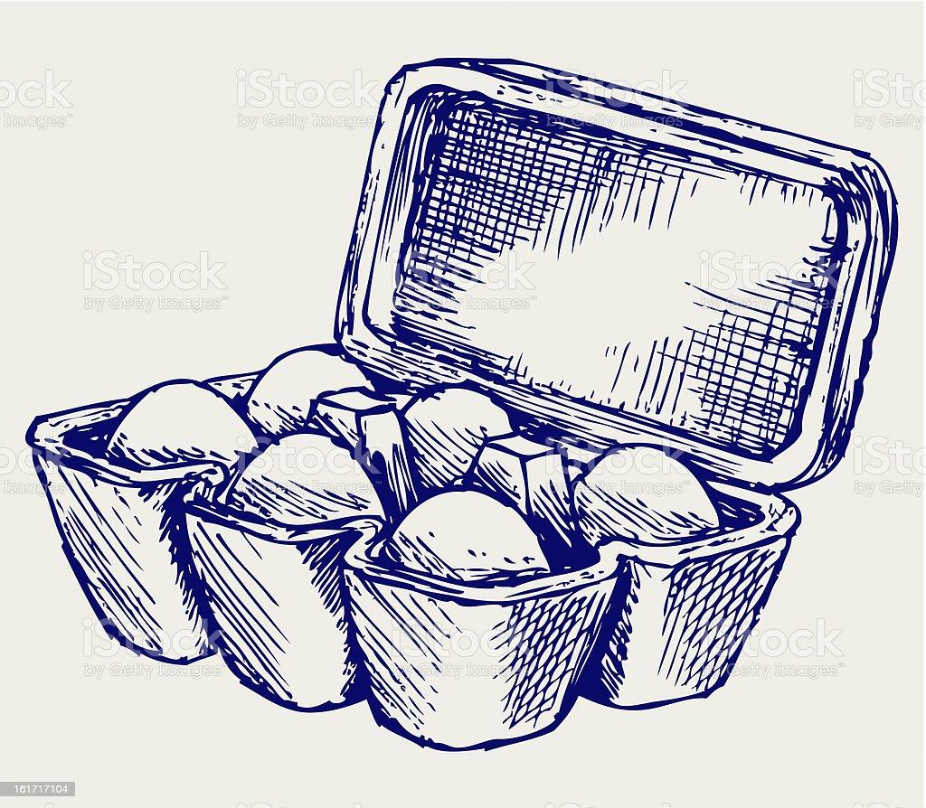 Hand drawn image of half-dozen carton of eggs royalty-free stock vector art