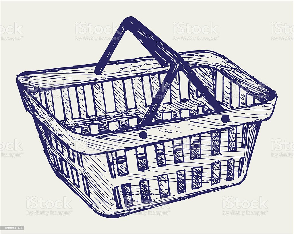 Hand drawn image of plastic shopping basket royalty-free stock vector art
