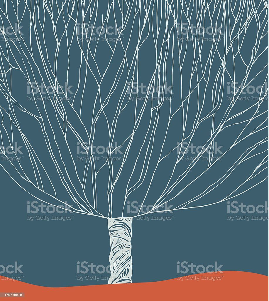 Hand drawn image with decorative branches tree royalty-free stock vector art