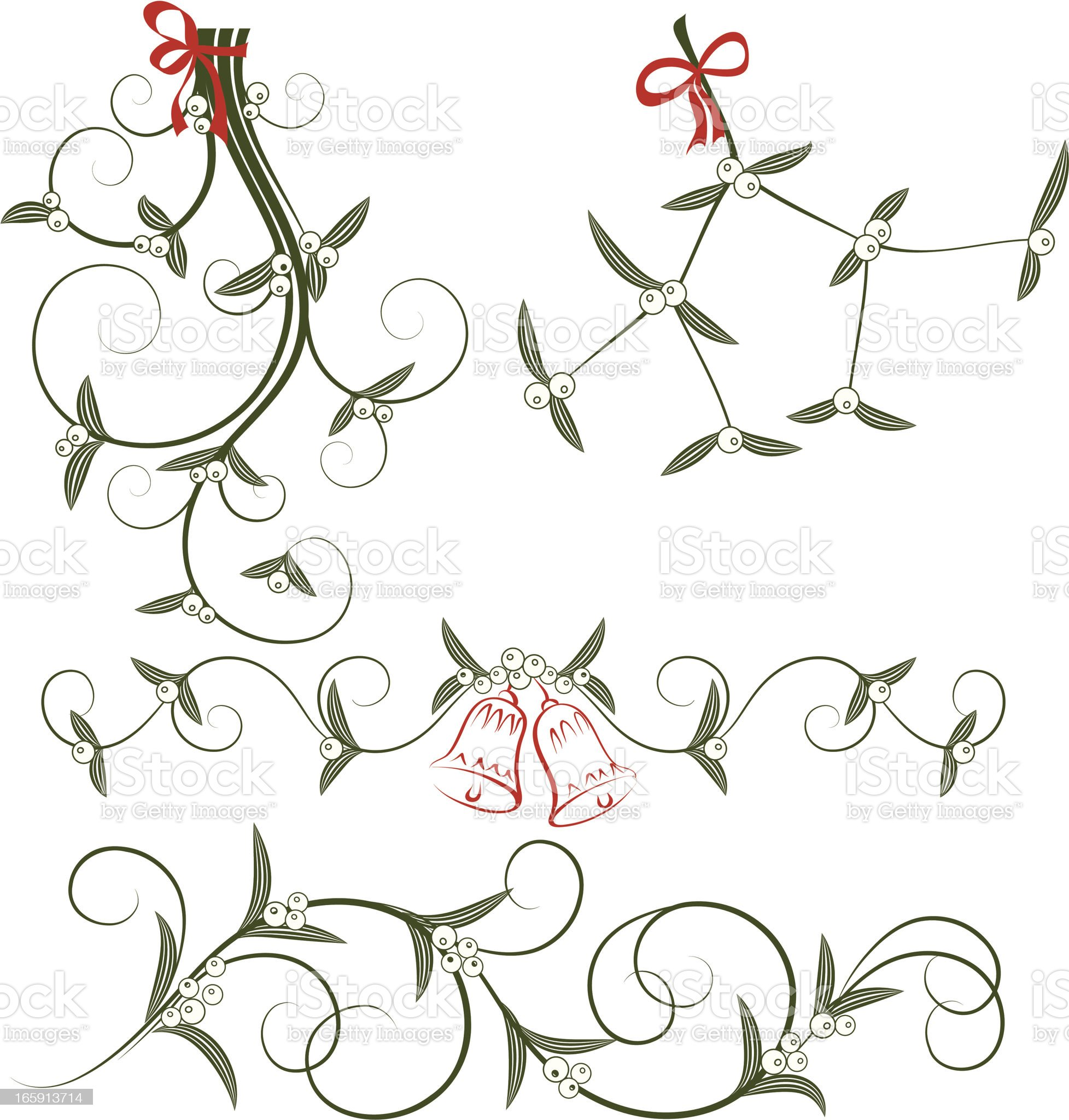 Hand drawn images of mistletoe in black and red royalty-free stock vector art