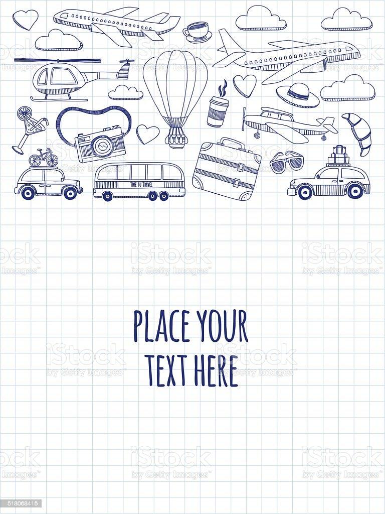 Hand drawn images Travel and transportation vector art illustration