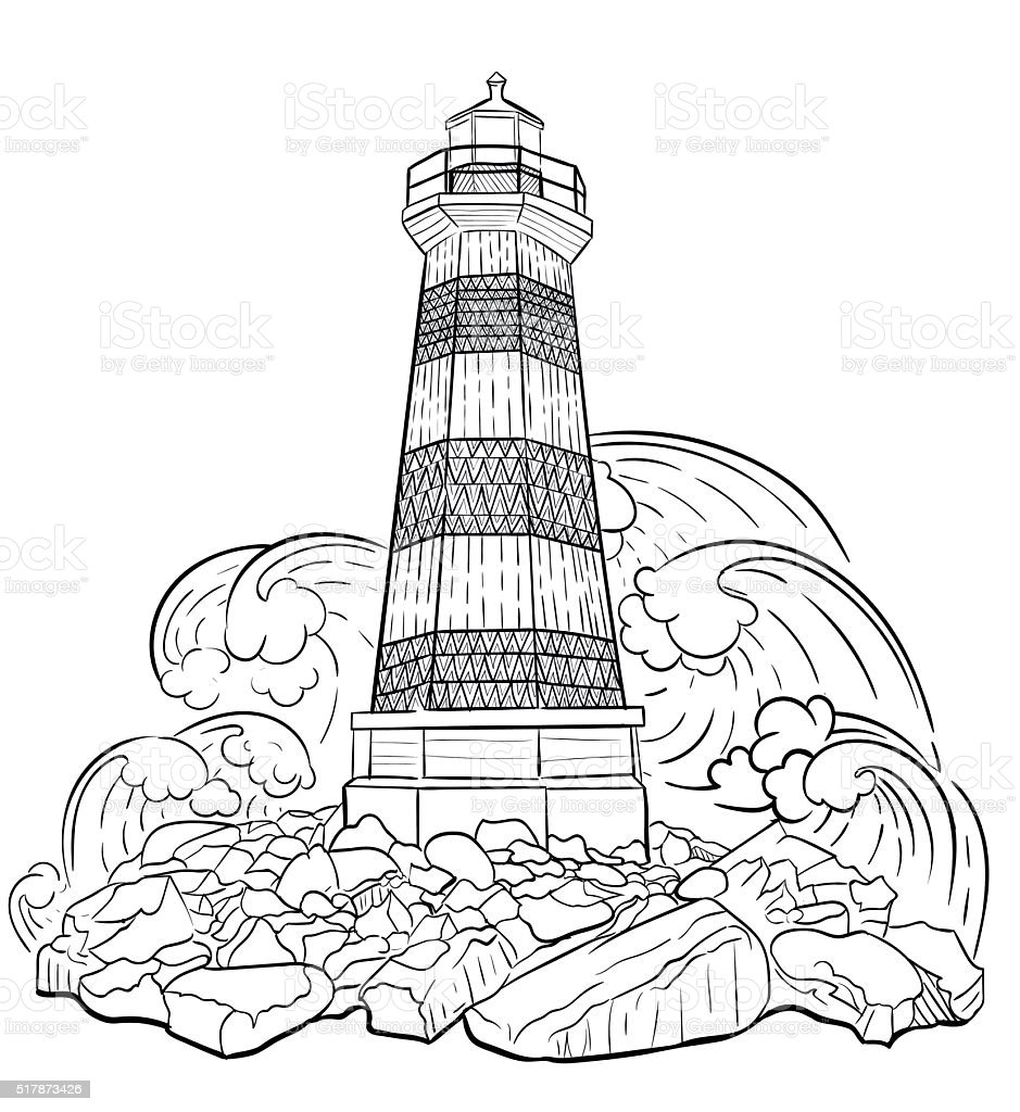 Coloring book landmark for adults - Coloring Book For Adult Royalty Free Stock Vector Art