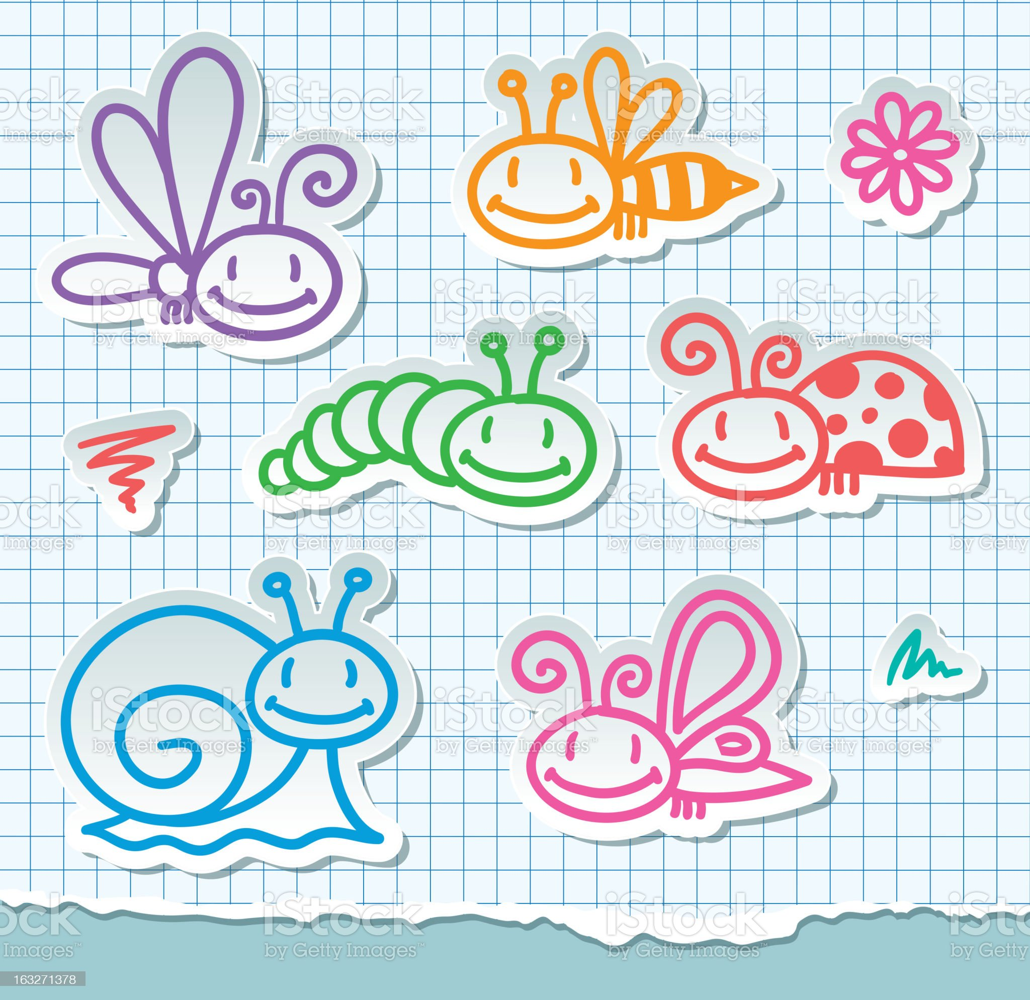 hand drawn insects, vector eps 10 royalty-free stock vector art