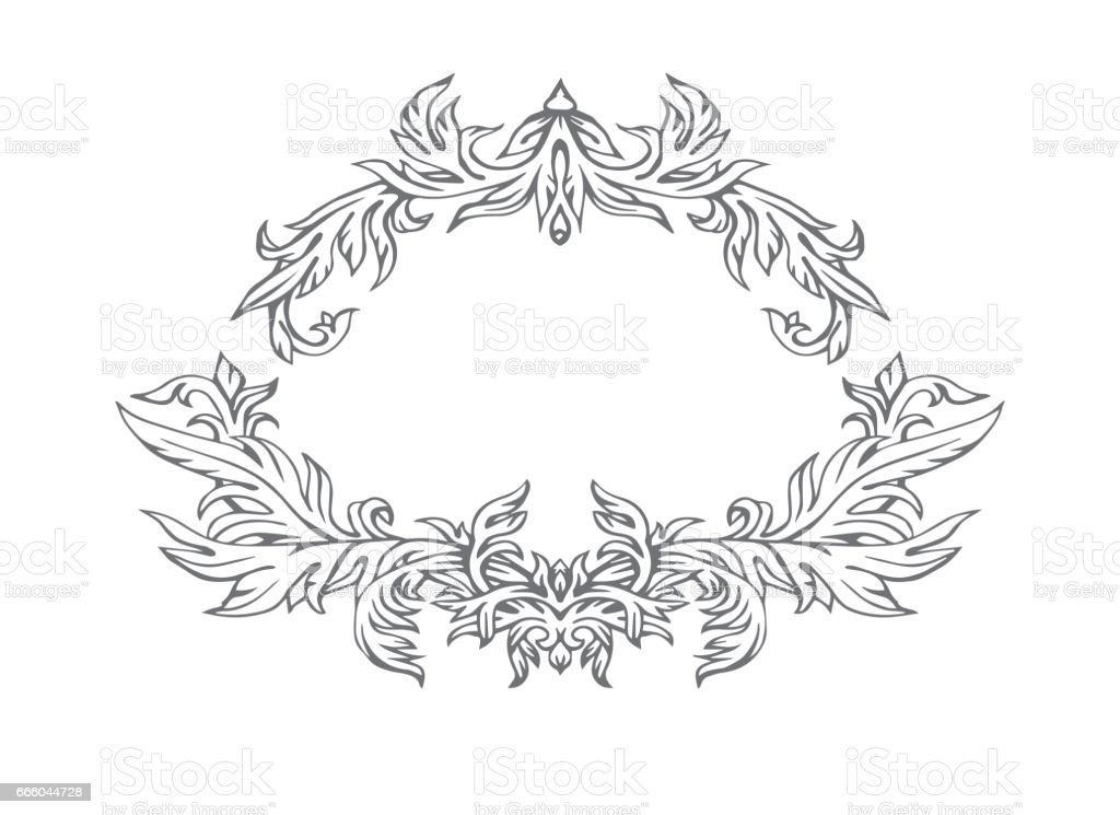 Hand drawn intage frame, vector pattern vector art illustration