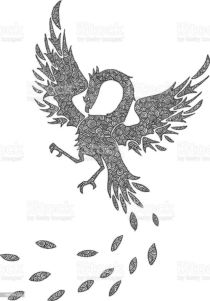 Hand drawn intricate phoenix illustration royalty-free stock vector art