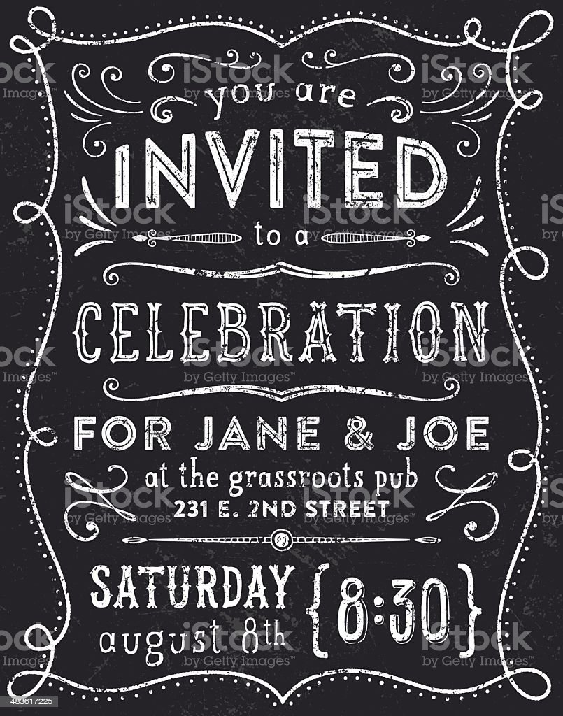 Hand Drawn Invitation vector art illustration