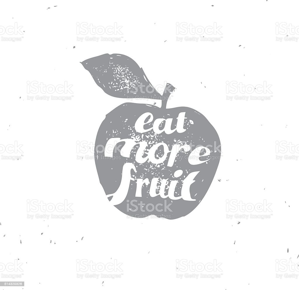 Hand drawn isolated apple illustration with motivating words vector art illustration