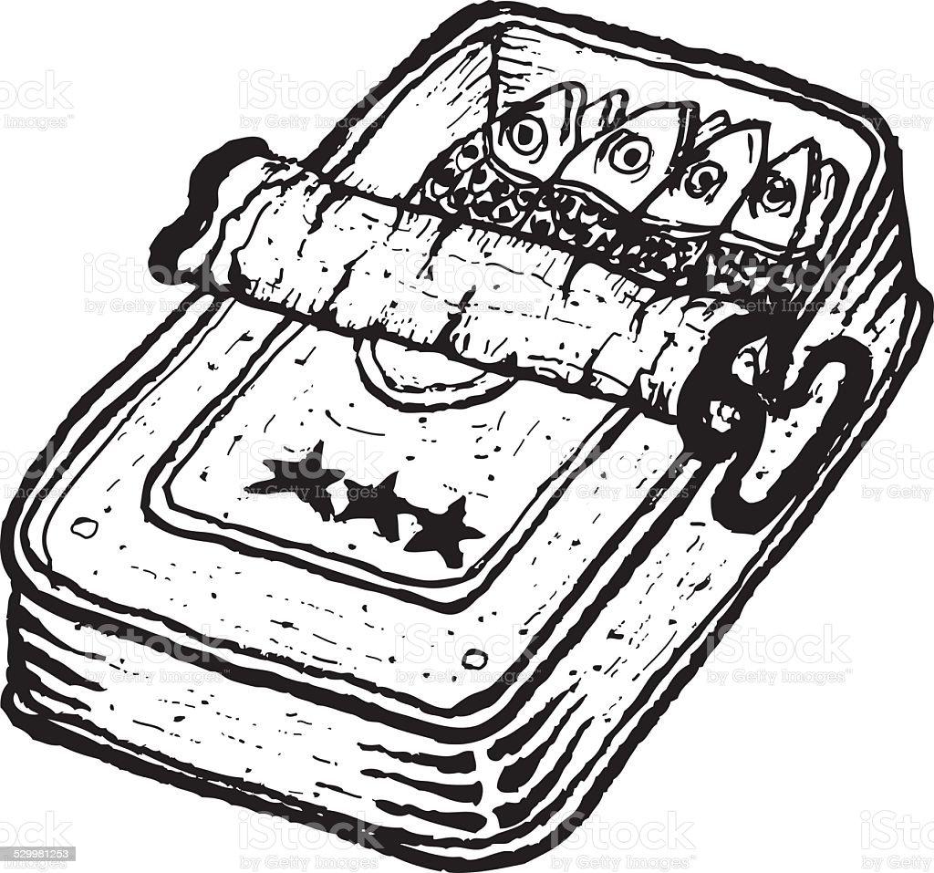 Hand drawn isolated open tinned sardines vector art illustration