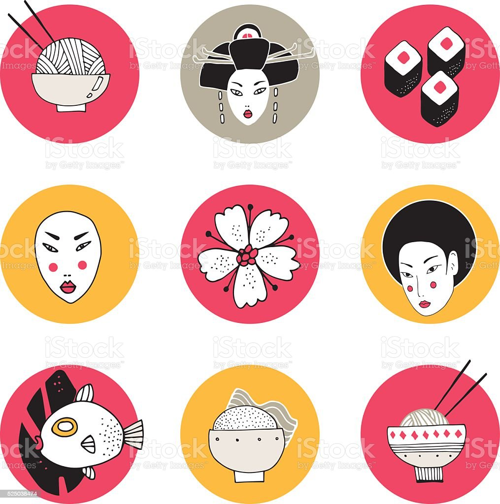 Hand drawn Japan and Asia design icons collection vector art illustration