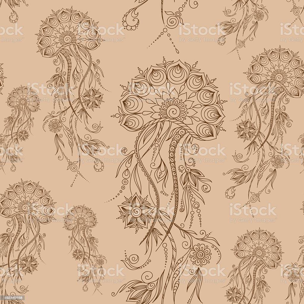 Hand drawn jellyfish. Vector illustration. Henna Mehendi  Doodle vector art illustration