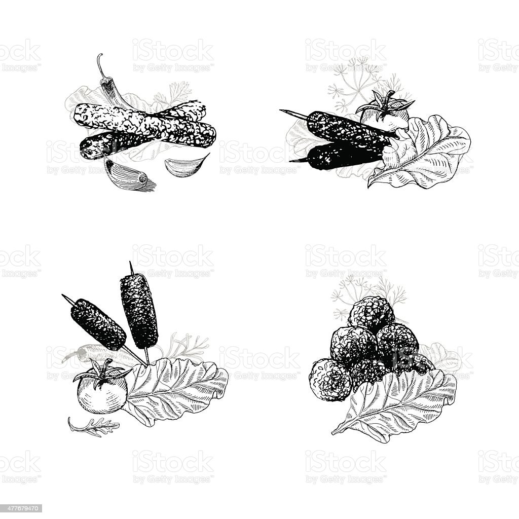 Hand drawn kebabs, meatballs and salad greens vector art illustration