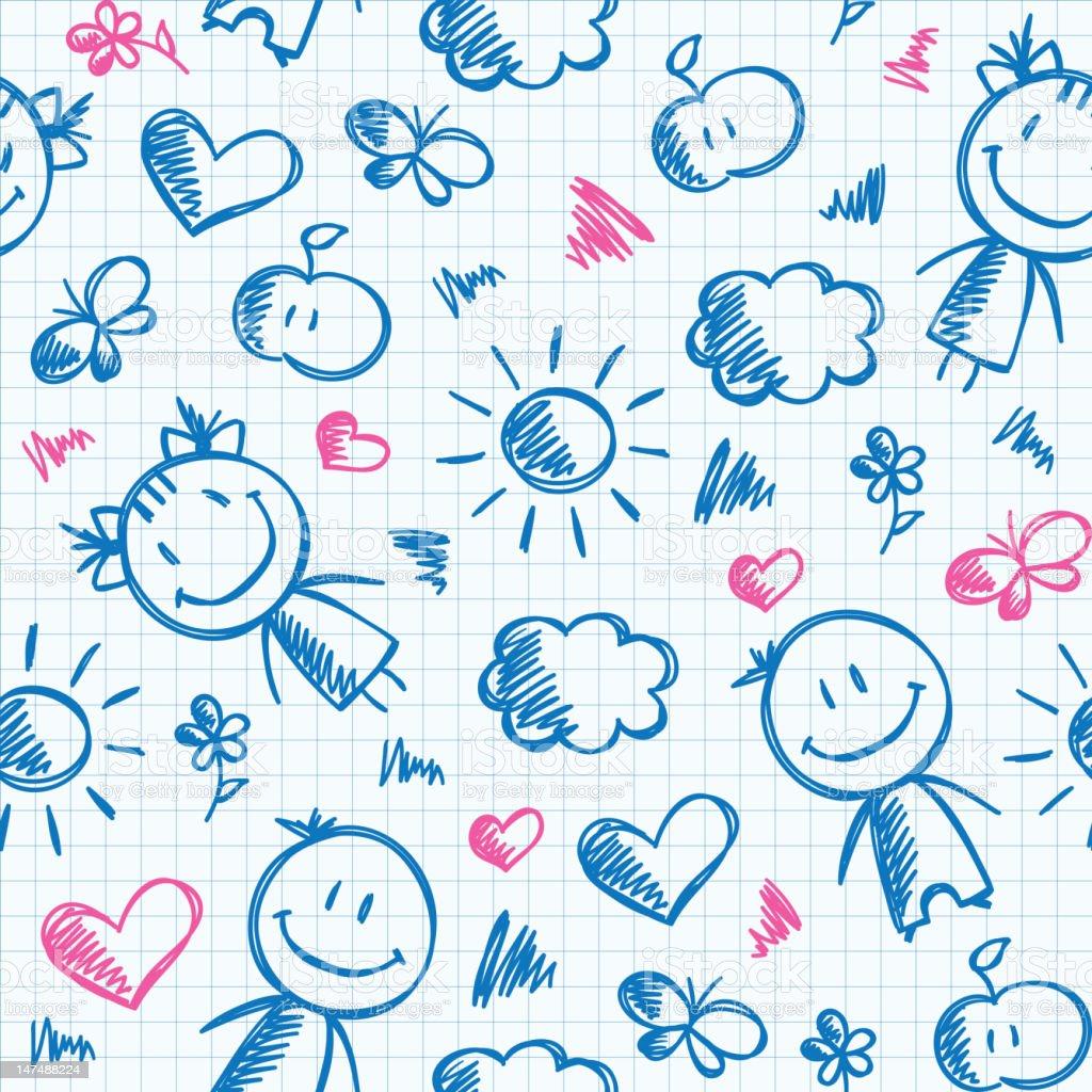 hand drawn kid pattern royalty-free stock vector art