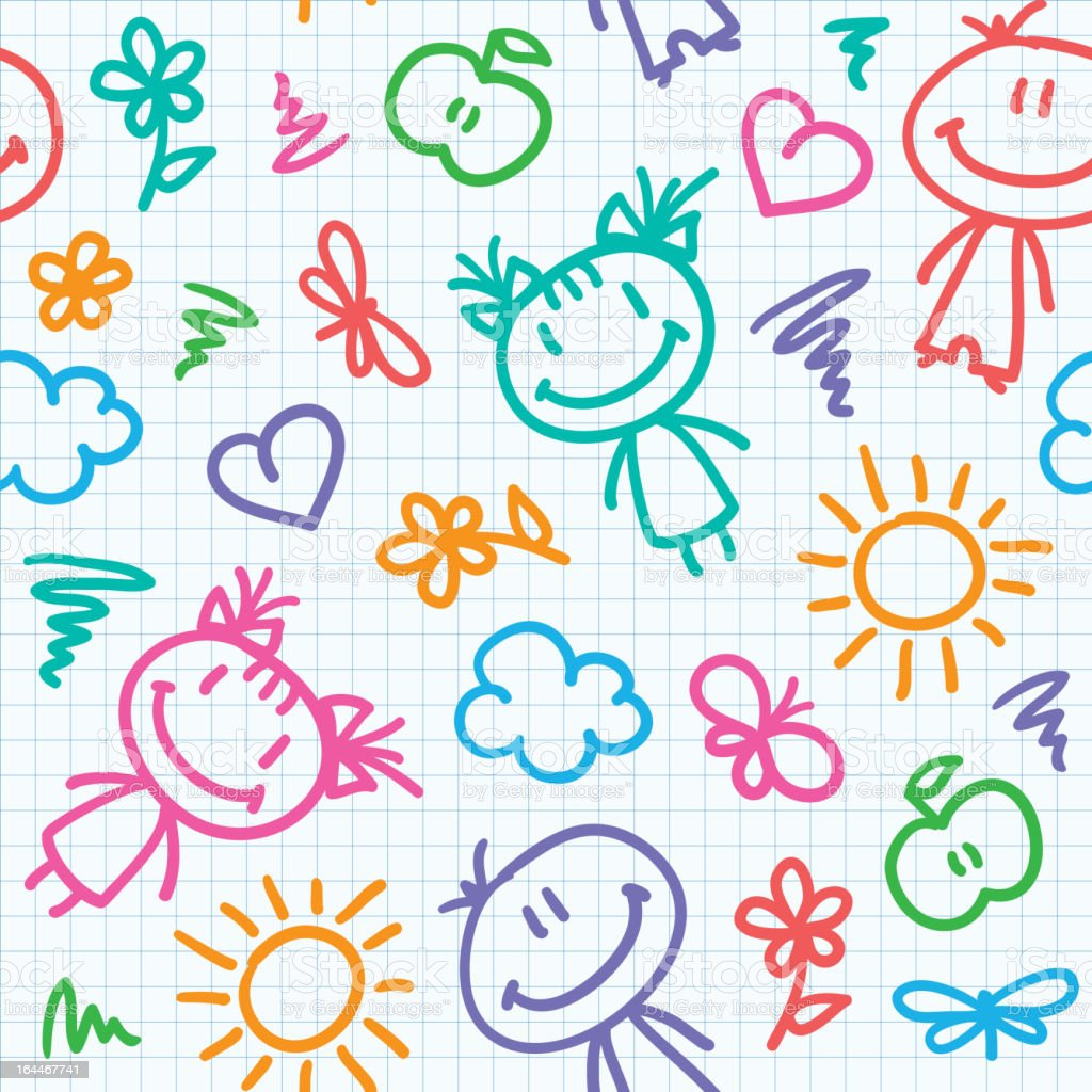 hand drawn kid pattern royalty-free stock vector art