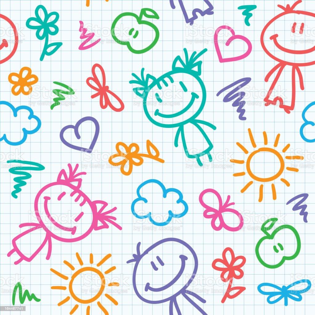 hand drawn kid pattern vector art illustration