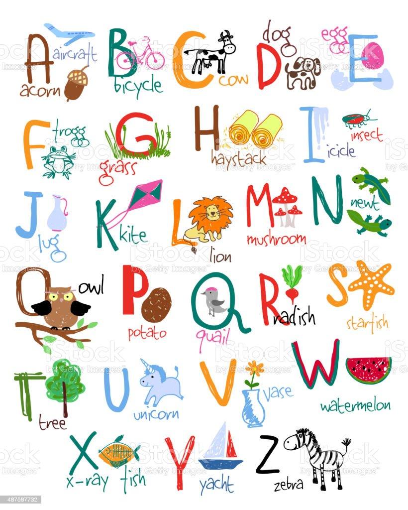 Hand drawn kids alphabet vector art illustration